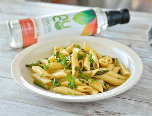 Chickpea Penne Pasta in Garlic Coconut Oil