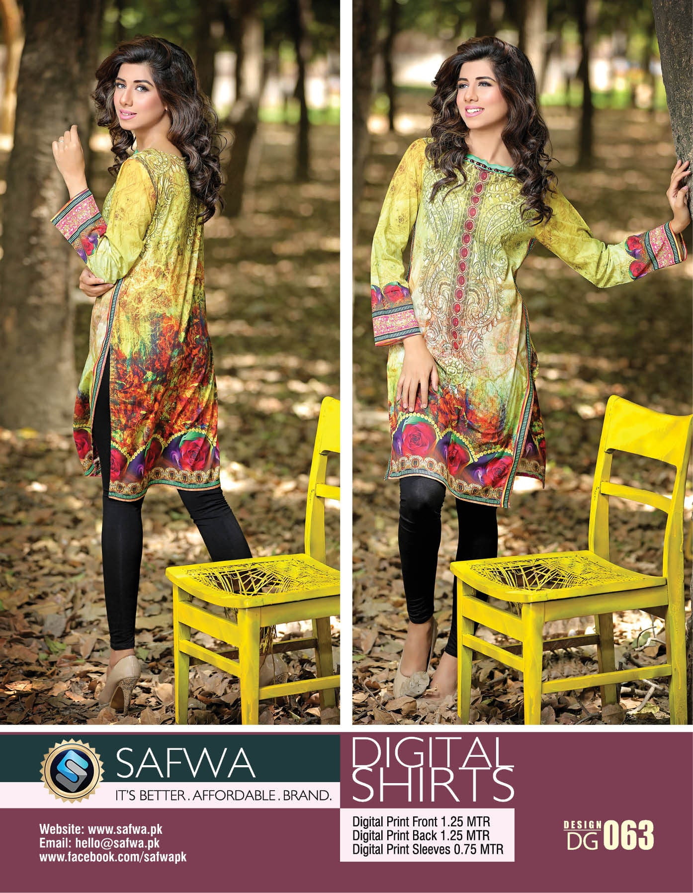 Safwa Digital Kurti Shirts Collection Pakistani Clothes Online Shopping Pakistan