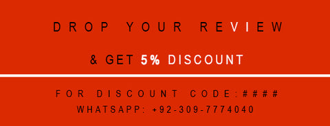 drop your review and get 5% discount