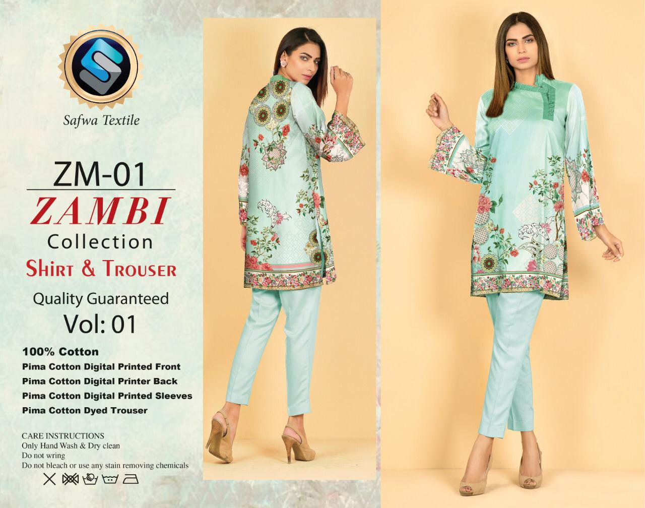 ZM-01-SAFWA COTTON-ZAMBI COLLECTION- PRINTED -2 PIECE DRESS - Two Piece Suit - safwa