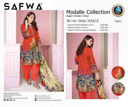 MC 01 - SAFWA DIGITAL MODALLE 3 PIECE PRINT COLLECTION -SHIRT Trouser and Duptta |SAFWA DRESS DESIGN| DRESSES| PAKISTANI DRESSES| SAFWA -SAFWA Brand Pakistan online shopping for Designer Dresses