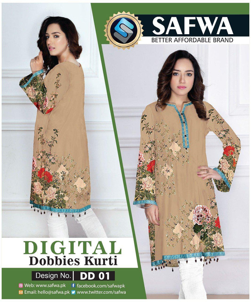 DD01 - SAFWA DIGITAL DOBBIE PRINT KURTI COLLECTION -SHIRT KURTI KAMEEZ