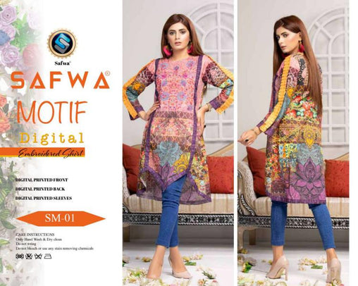 DSM 01 DIGITAL EMBROIDERY SHIRT KURTI KAMEEZ - COTTON - SAFWA MOTIF COLLECTION -  Shirt-Kurti, SAFWA, SAFWA Brand - Pakistani Dresses | Kurtis | Shalwar Kameez | Online Shopping | Lawn Dress