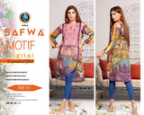 DSM 01 SAFWA MOTIF COLLECTION- DIGITAL EMBROIDERY COTTON SHIRT KURTI KAMEEZ