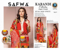 KRR 01 - SAFWA DIGITAL KARANDI-3 PIECE  PRINT COLLECTION -SHIRT Trouser and Duptta |SAFWA DRESS DESIGN| DRESSES| PAKISTANI DRESSES| SAFWA -SAFWA Brand Pakistan online shopping for Designer Dresses