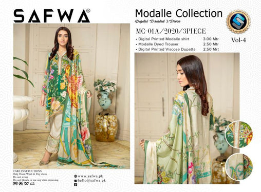MCA 01 - SAFWA DIGITAL MODALLE 3 PIECE PRINT COLLECTION -SHIRT Trouser and Duptta |SAFWA DRESS DESIGN| DRESSES| PAKISTANI DRESSES| SAFWA -SAFWA Brand Pakistan online shopping for Designer Dresses