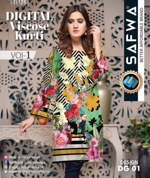 DG-01 - SAFWA - DIGITAL SHIRT - KURTI - VISCOSE KAMEEZ -SAFWA DRESS DESIGN, DRESSES, PAKISTANI DRESSES,-Shirt-Kurti-SAFWA Textile -SAFWA Brand Pakistan online shopping for Designer Dresses