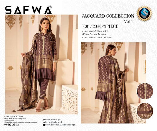 JC-01-SAFWA JACQUARD KARANDI/COTTON COLLECTION-3 PIECE DRESS - Safwa |Dresses| Pakistani Dresses| Fashion|Online Shopping