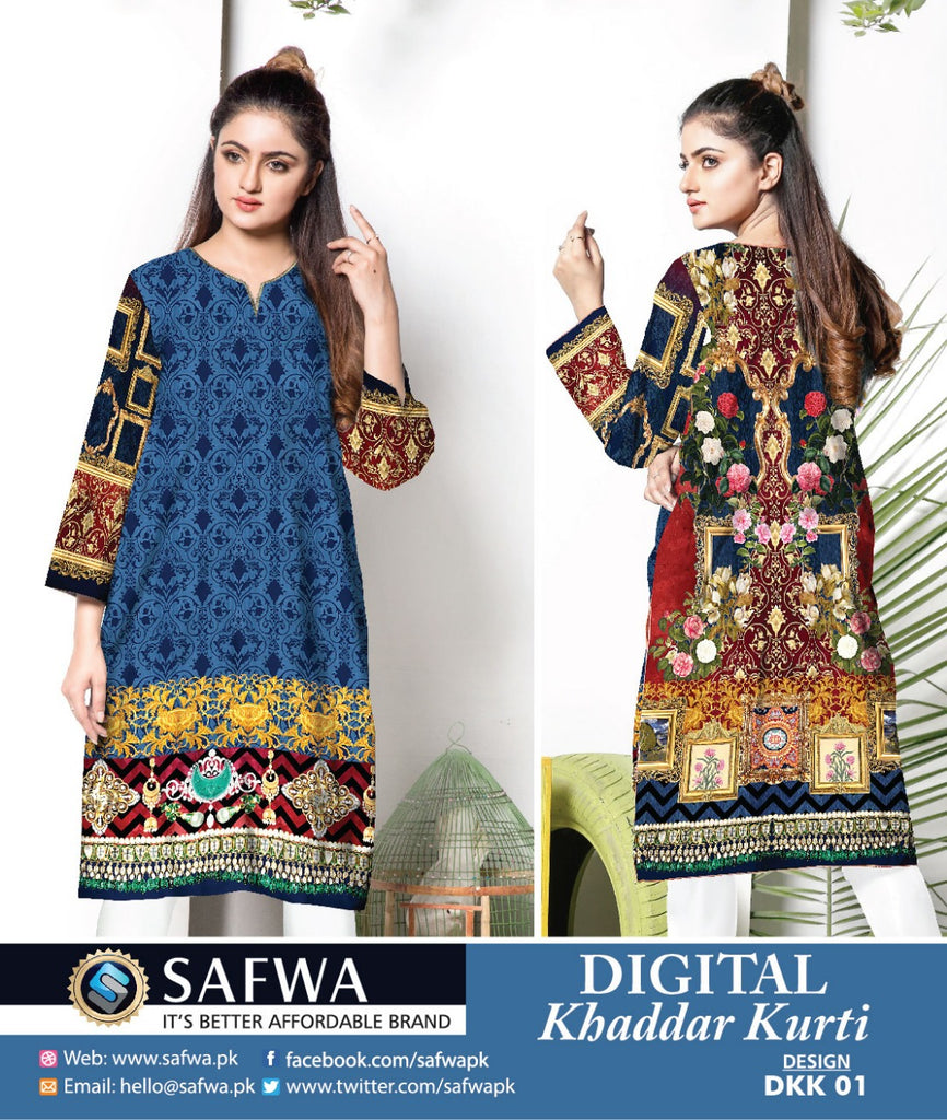 DKK001 - SAFWA DIGITAL KHADDAR PRINT KURTI COLLECTION -SHIRT KURTI KAMEEZ