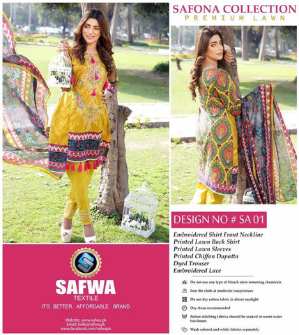 SA-01 - SAFWA LAWN - SAFONA COLLECTION - EMBROIDERED - 3 PIECE DRESS