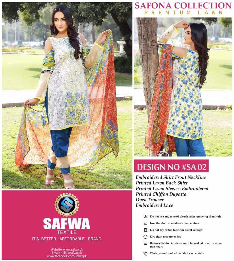 SA-02 - SAFWA LAWN - SAFONA COLLECTION - EMBROIDERED - 3 PIECE DRESS, Three Piece Suit, SAFWA, SAFWA Brand - Pakistani Dresses | Kurtis | Shalwar Kameez | Online Shopping | Lawn Dress
