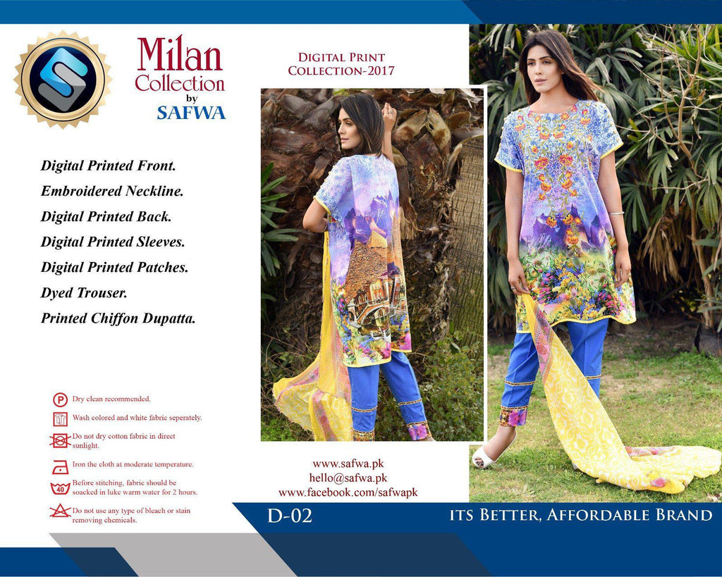 D-02 - SAFWA DIGITAL - MILAN COLLECTION - EMBROIDERED - 3 PIECE SUIT - LAWN, Three Piece Suit, SAFWA, SAFWA Brand - Pakistani Dresses | Kurtis | Shalwar Kameez | Online Shopping | Lawn Dress