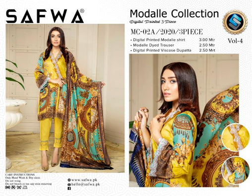 MCA 02 - SAFWA DIGITAL MODALLE 3 PIECE PRINT COLLECTION -SHIRT Trouser and Duptta |SAFWA DRESS DESIGN| DRESSES| PAKISTANI DRESSES| SAFWA -SAFWA Brand Pakistan online shopping for Designer Dresses
