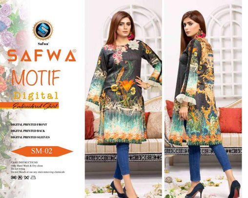 DSM 02 DIGITAL EMBROIDERY SHIRT KURTI KAMEEZ - COTTON - SAFWA MOTIF COLLECTION -  Shirt-Kurti, SAFWA, SAFWA Brand - Pakistani Dresses | Kurtis | Shalwar Kameez | Online Shopping | Lawn Dress