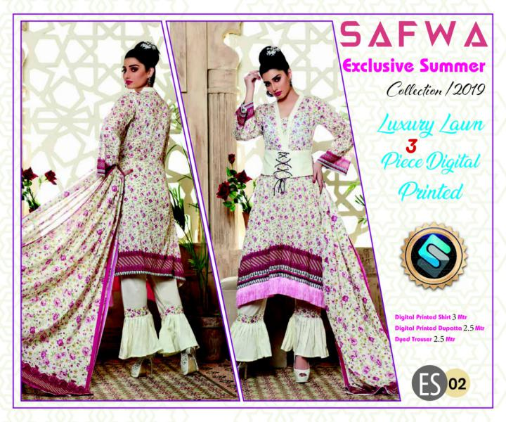 ES 02 - Exclusive  Collection Vol 1 - 3 PIECE SUIT 2019-Three Piece Suit-SAFWA -SAFWA Brand Pakistan online shopping for Designer Dresses-SAFWA DRESS DESIGN, DRESSES, PAKISTANI DRESSES