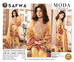 Sm-09 - SAFWA DIGITAL EMBROIDERED 3 PIECE MODA COLLECTION -SHIRT Trouser and Duptta |SAFWA DRESS DESIGN| DRESSES| PAKISTANI DRESSES| SAFWA -SAFWA Brand Pakistan online shopping for Designer Dresses