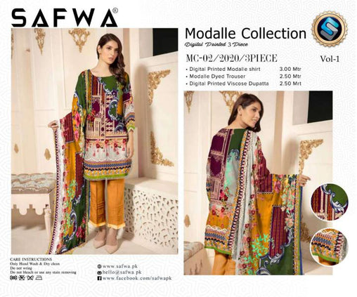 MC 02 - SAFWA DIGITAL MODALLE 3 PIECE PRINT COLLECTION -SHIRT Trouser and Duptta |SAFWA DRESS DESIGN| DRESSES| PAKISTANI DRESSES| SAFWA -SAFWA Brand Pakistan online shopping for Designer Dresses
