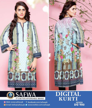 DG900 - SAFWA DIGITAL COTTON PRINT KURTI COLLECTION -SHIRT KURTI KAMEEZ
