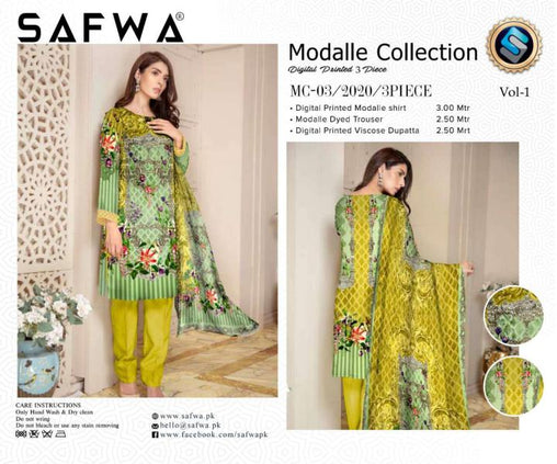 MC 03 - SAFWA DIGITAL MODALLE 3 PIECE PRINT COLLECTION -SHIRT Trouser and Duptta |SAFWA DRESS DESIGN| DRESSES| PAKISTANI DRESSES| SAFWA -SAFWA Brand Pakistan online shopping for Designer Dresses