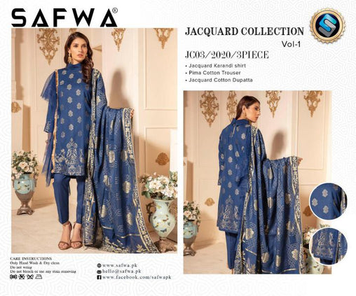 JC-03-SAFWA JACQUARD KARANDI/COTTON COLLECTION-3 PIECE DRESS - Safwa |Dresses| Pakistani Dresses| Fashion|Online Shopping
