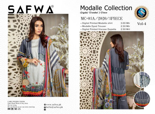 MCA 03 - SAFWA DIGITAL MODALLE 3 PIECE PRINT COLLECTION -SHIRT Trouser and Duptta |SAFWA DRESS DESIGN| DRESSES| PAKISTANI DRESSES| SAFWA -SAFWA Brand Pakistan online shopping for Designer Dresses