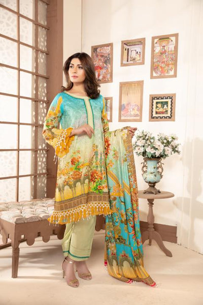 Sm-10 - SAFWA DIGITAL EMBROIDERED 3 PIECE MODA COLLECTION -SHIRT Trouser and Duptta |SAFWA DRESS DESIGN| DRESSES| PAKISTANI DRESSES| SAFWA -SAFWA Brand Pakistan online shopping for Designer Dresses