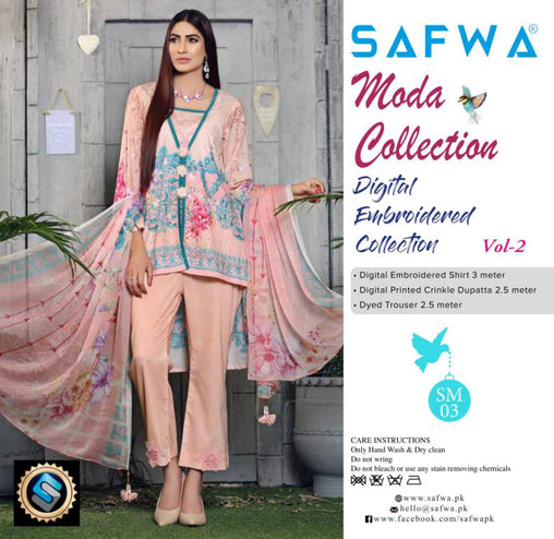 SM-03 - MODA COLLECTION Vol 2- 3PIECE SUIT-Lawn 2019