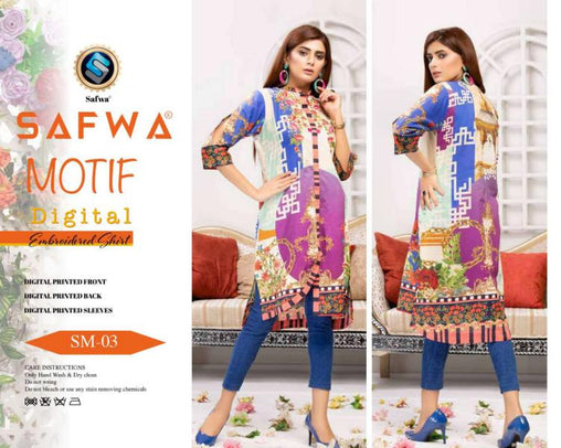 DSM 03 DIGITAL EMBROIDERY SHIRT KURTI KAMEEZ - COTTON - SAFWA MOTIF COLLECTION -  Shirt-Kurti, SAFWA, SAFWA Brand - Pakistani Dresses | Kurtis | Shalwar Kameez | Online Shopping | Lawn Dress