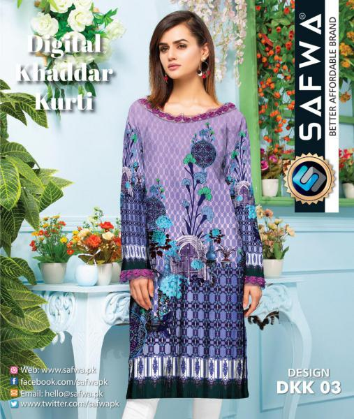 DKK 03- SAFWA DIGITAL KHADDAR -PRINT KURTI COLLECTION - SHIRT - KURTI - KAMEEZ-Shirt-Kurti-SAFWA -SAFWA Brand Pakistan online shopping for Designer Dresses |SAFWA |DRESS DESIGN| DRESSES| PAKISTANI DRESSES