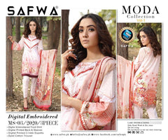 MS-03 - SAFWA DIGITAL EMBROIDERED 3 PIECE MODA COLLECTION -SHIRT Trouser and Duptta |SAFWA DRESS DESIGN| DRESSES| PAKISTANI DRESSES| SAFWA -SAFWA Brand Pakistan online shopping for Designer Dresses