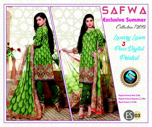 ES 03 - Exclusive  Collection Vol 1 - 3 PIECE SUIT 2019-Three Piece Suit-SAFWA -SAFWA Brand Pakistan online shopping for Designer Dresses-SAFWA DRESS DESIGN, DRESSES, PAKISTANI DRESSES