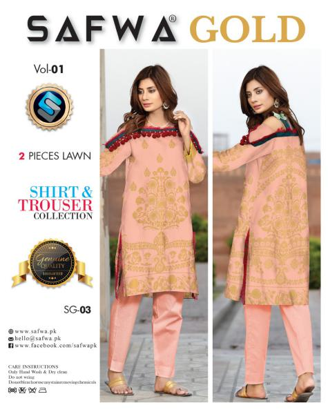 SG-03-SAFWA FINE COTTON GOLD COLLECTION-DIGITAL 2 PIECE - Safwa-Pakistani Dresses-Dresses-Kurti-Shop Online