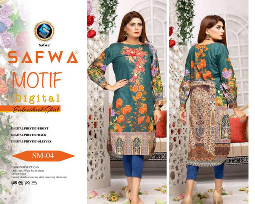DSM 04 DIGITAL EMBROIDERY SHIRT KURTI KAMEEZ - COTTON - SAFWA MOTIF COLLECTION -  Shirt-Kurti, SAFWA, SAFWA Brand - Pakistani Dresses | Kurtis | Shalwar Kameez | Online Shopping | Lawn Dress