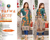 DSM 04 SAFWA MOTIF COLLECTION- DIGITAL EMBROIDERY COTTON SHIRT KURTI KAMEEZ