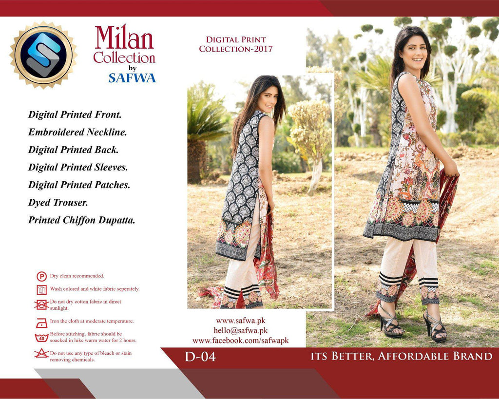 D-04 - SAFWA DIGITAL - MILAN COLLECTION - EMBROIDERED - 3 PIECE SUIT - LAWN, Three Piece Suit, SAFWA, SAFWA Brand - Pakistani Dresses | Kurtis | Shalwar Kameez | Online Shopping | Lawn Dress
