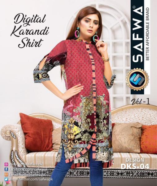 DKS-04 - SAFWA DIGITAL KARANDI COLLECTION -SAFWA SHIRT| KURTI| COLLECTION -SAFWA Brand Pakistan online shopping for Designer Dresses SAFWA DRESS DESIGN, DRESSES, PAKISTANI DRESSES