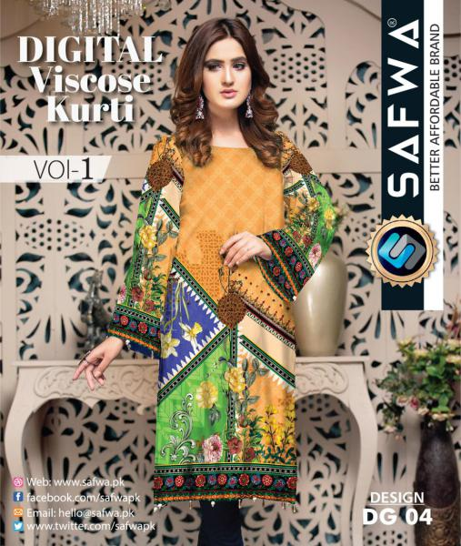 DG-04 - SAFWA - DIGITAL SHIRT - KURTI - VISCOSE KAMEEZ -SAFWA DRESS DESIGN, DRESSES, PAKISTANI DRESSES,-Shirt-Kurti-SAFWA Textile -SAFWA Brand Pakistan online shopping for Designer Dresses