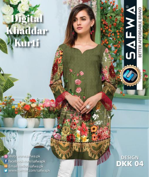 DKK 04- SAFWA DIGITAL KHADDAR -PRINT KURTI COLLECTION - SHIRT - KURTI - KAMEEZ-Shirt-Kurti-SAFWA -SAFWA Brand Pakistan online shopping for Designer Dresses |SAFWA |DRESS DESIGN| DRESSES| PAKISTANI DRESSES