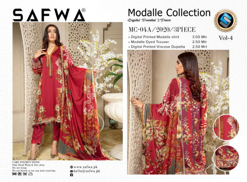 MCA 04 - SAFWA DIGITAL MODALLE 3 PIECE PRINT COLLECTION -SHIRT Trouser and Duptta |SAFWA DRESS DESIGN| DRESSES| PAKISTANI DRESSES| SAFWA -SAFWA Brand Pakistan online shopping for Designer Dresses