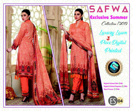 ES 04 - Exclusive  Collection Vol 1 - 3 PIECE SUIT 2019-Three Piece Suit-SAFWA -SAFWA Brand Pakistan online shopping for Designer Dresses-SAFWA DRESS DESIGN, DRESSES, PAKISTANI DRESSES