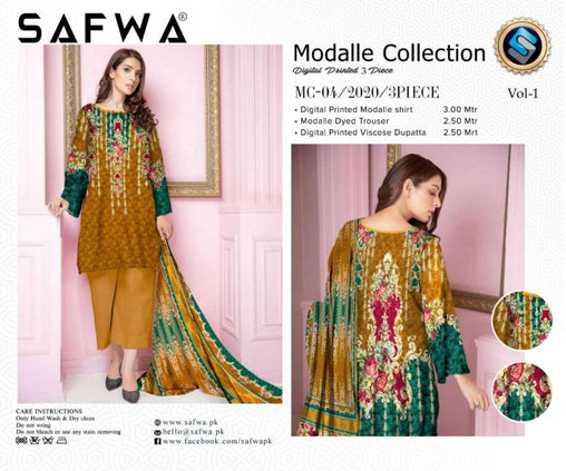 MC 04 - SAFWA DIGITAL MODALLE 3 PIECE PRINT COLLECTION -SHIRT Trouser and Duptta |SAFWA DRESS DESIGN| DRESSES| PAKISTANI DRESSES| SAFWA -SAFWA Brand Pakistan online shopping for Designer Dresses