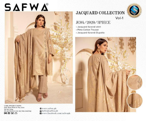 JC-04-SAFWA JACQUARD KARANDI/COTTON COLLECTION-3 PIECE DRESS - Safwa |Dresses| Pakistani Dresses| Fashion|Online Shopping