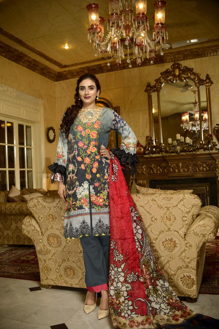 ES 05-SAFWA-DIGITAL COTTON SATIN -EVA COLLECTION-EMBROIDERED 3-PIECE-DRESS