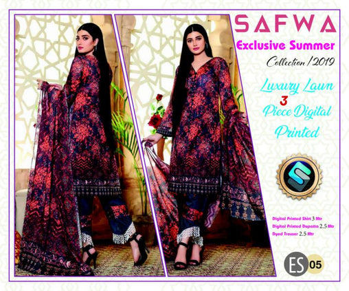 ES 05 - Exclusive  Collection Vol 1 - 3 PIECE SUIT 2019-Three Piece Suit-SAFWA -SAFWA Brand Pakistan online shopping for Designer Dresses-SAFWA DRESS DESIGN, DRESSES, PAKISTANI DRESSES