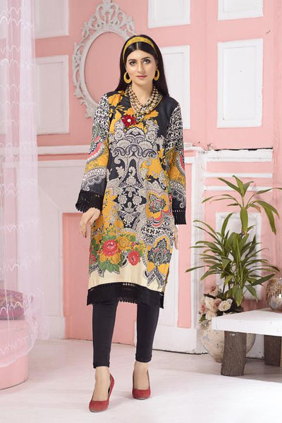 CST-05 - SAFWA DIGITAL COTTON SATIN PRINT KURTI COLLECTION -SHIRT| KURTI | KAMEEZ -SAFWA BRAND PAKISTAN , DRESS DESIGN, DRESSES , PAKISTANI DRESSES