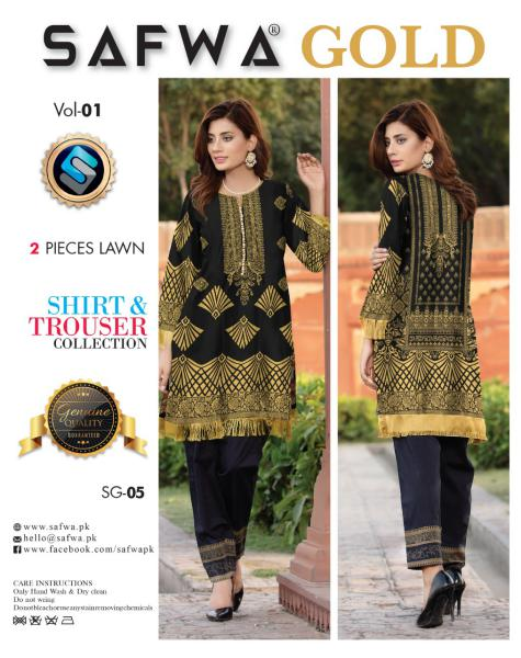SG-05-SAFWA FINE COTTON GOLD COLLECTION-DIGITAL 2 PIECE - Safwa-Pakistani Dresses-Dresses-Kurti-Shop Online