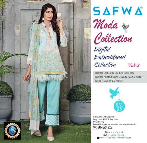 MC-15 - MODA COLLECTION VOL 2- 3PIECE SUIT-Lawn 2019 - Three Piece Suit - safwa