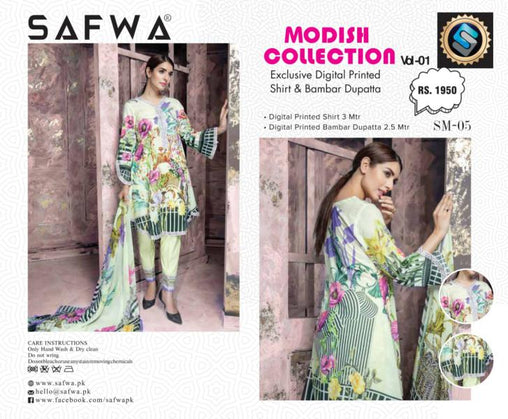 SM-05-SAFWA LAWN-MODISH COLLECTION- PRINTED -2 PIECE DRESS - Safwa |Dresses| Pakistani Dresses| Fashion|Online Shopping