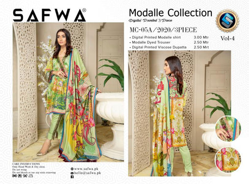MCA 05 - SAFWA DIGITAL MODALLE 3 PIECE PRINT COLLECTION -SHIRT Trouser and Duptta |SAFWA DRESS DESIGN| DRESSES| PAKISTANI DRESSES| SAFWA -SAFWA Brand Pakistan online shopping for Designer Dresses