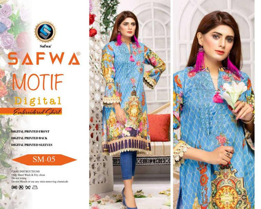 DSM 05 DIGITAL EMBROIDERY SHIRT KURTI KAMEEZ - COTTON - SAFWA MOTIF COLLECTION -  Shirt-Kurti, SAFWA, SAFWA Brand - Pakistani Dresses | Kurtis | Shalwar Kameez | Online Shopping | Lawn Dress